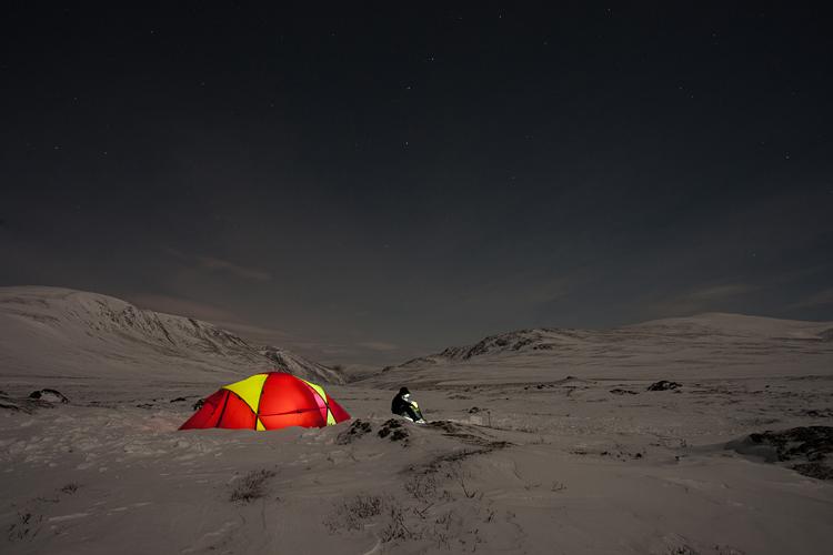 Kamperen in een besneeuwd Dovrefjell